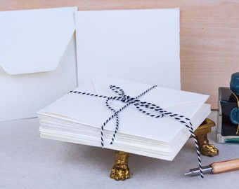 """10 Pieces of Folded Italian Stationery Cards with Envelopes - 5"""" x 5"""" Blank"""
