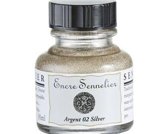 Sennelier Silver Metallic Ink - 30ml Bottle