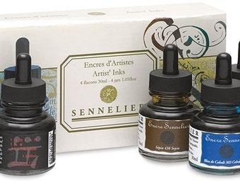 Sennelier Artist Inks - 4 Bottles and colors