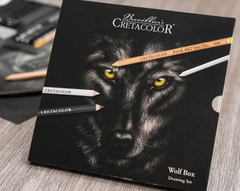 Cretacolor Wolf Box Drawing Set - 25 Piece Artists Sketching Kit