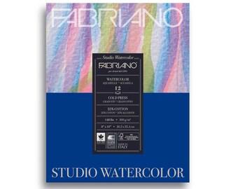 """Fabriano Studio Watercolor Pad 8"""" x 10"""" - 12 Sheets Cold Pressed 140lb"""
