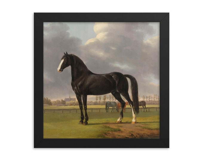 Featured listing image: Trotter 'De Vlugge'  in a Meadow Antique Framed Print, Horse Wall Art, Anthony Oberman Framed Painting