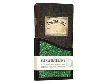 Vintage Composition Pocket Notebooks - 3 Pack