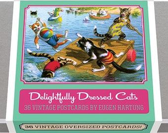 Delightfully Dressed Cats Postcard Box - 36 Unique Vintage Postcards