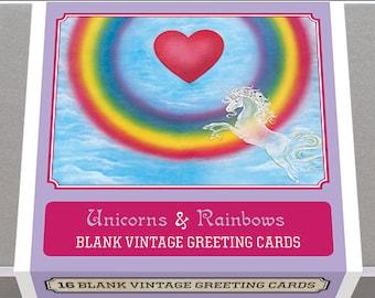 Unicorns and Rainbows! Blank Greeting card set