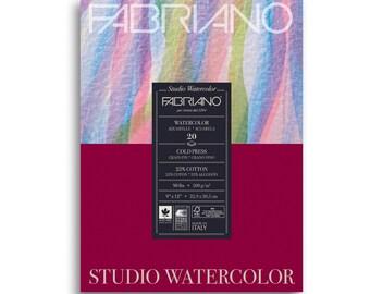 """Fabriano Studio Watercolor Pad 9"""" x 12"""" - 20 Sheets Cold Pressed 90lb"""