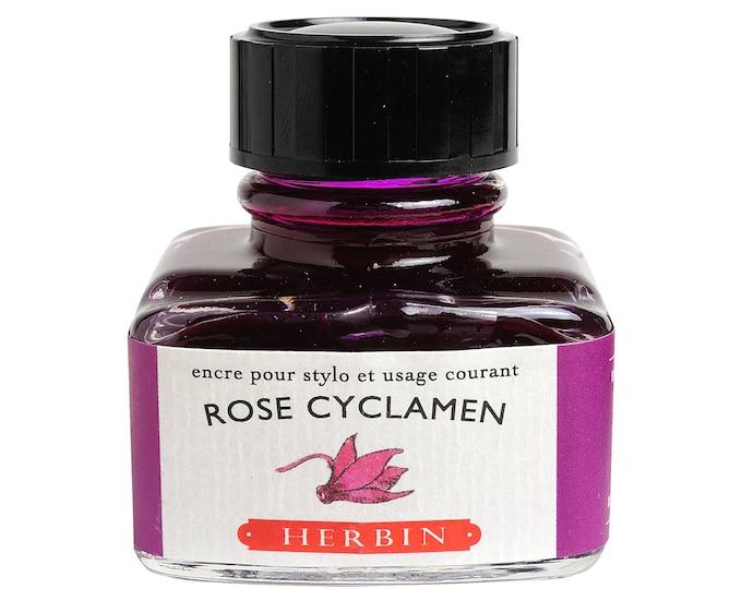 """Featured listing image: J. Herbin Fountain Pen Ink """"D"""" -  Rose Cyclamen - 1 oz Bottle"""