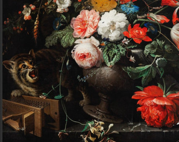 Featured listing image: Mignon - Still Life with Flowers, Cat and Mousetrap, c. 1670/80 - Framed poster