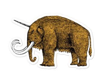 Uni Mammoth Orange Kiss Cut Sticker, Woolly Mammoth Sticker, Laptop Sticker