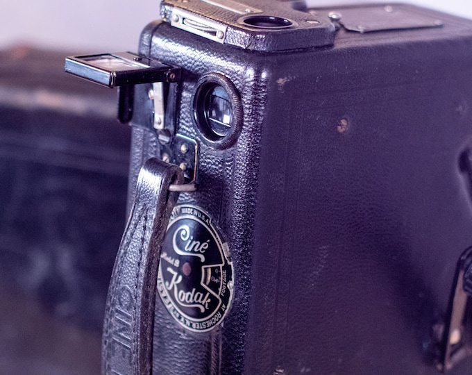 Featured listing image: Cine Kodak Model B 16mm Film Camera with Instructions and Leather Case, Hand Crank Antique Film Camera