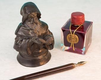 Antique Bronze Monk or Wizard Inkwell