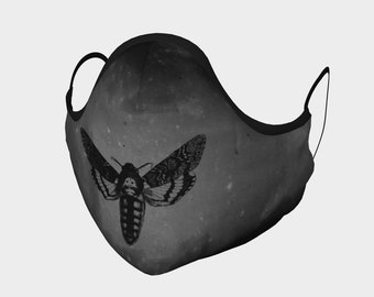 Cloth Face Mask Death's Head Moth, Goth, Spooky, Replaceable Filters, Cloth Washable Mask Halloween Theme