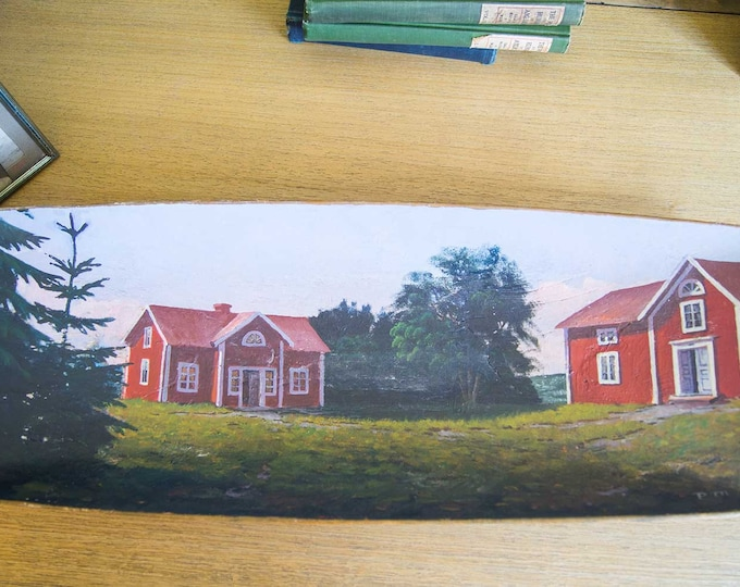 Featured listing image: Folk Art Painting on Wooden Trencher-Cabins by the Sea