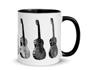 Guitar Mug with Black Color Inside and Black Handle, Coffee Cup for Musicians