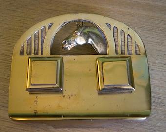 Vintage Equestrian Brass Inkwell - Marked GESCHUTZT