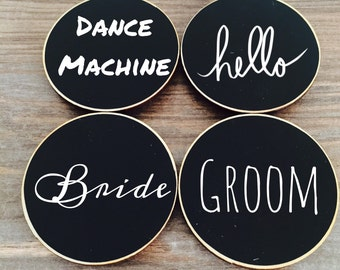 50 chalkboard name tags magnetic or pins reusable name etsy