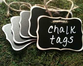 Fancy Wood Chalkboard Labels - set of 4 - Basket Labels, Chalkboard Tags, Wedding Chalkboards, Rustic Wedding