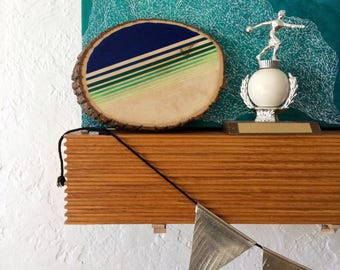 Artifacts of Joy - Neon Navy Stripe Artifact - Painting on Wood - Wood slice - Abstract art