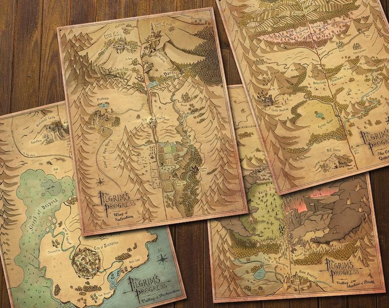 Pilgrim's Progress Maps  Hand Drawn Vintage Style   image 1