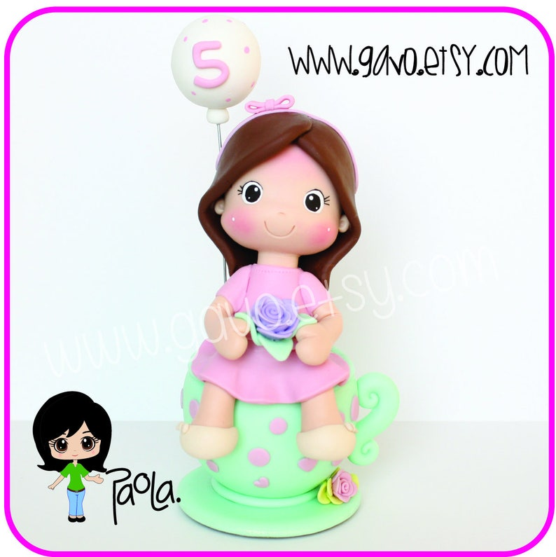 Girls tea party cake topper and Keepsake Personalized cake topper