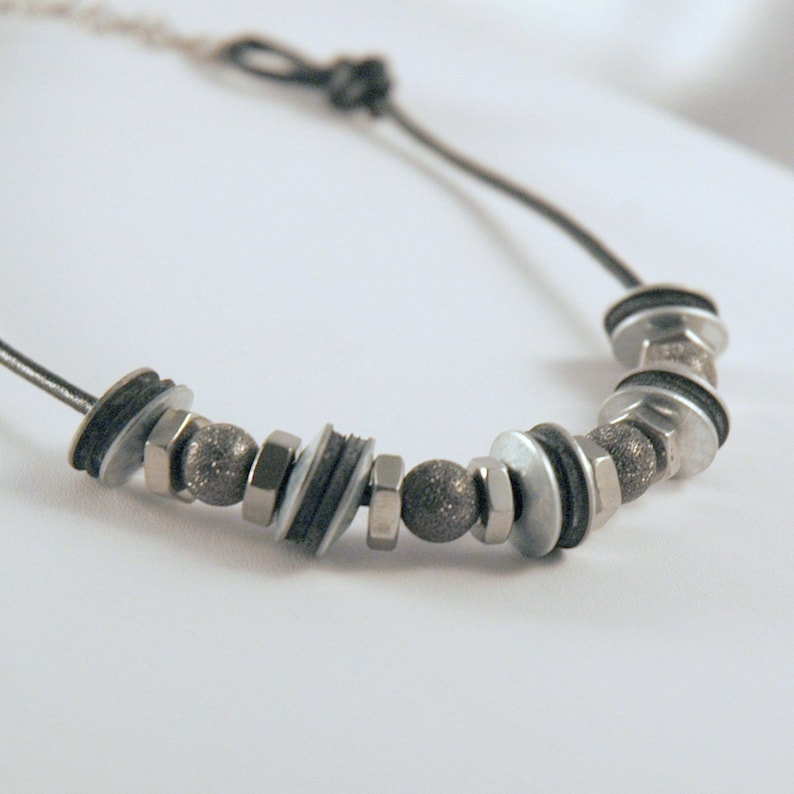 Hardware Store Necklace with Black Leather, Rubber Washers and Stainless  Steel Nuts