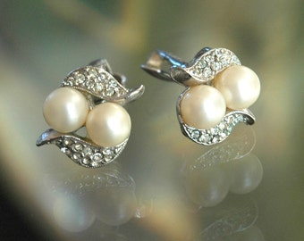 Signed Richelieu Earrings, Vintage Bride, Brushed Silver, Faux Pearl Swirl, Pave Rhinestones, Above Average Condition