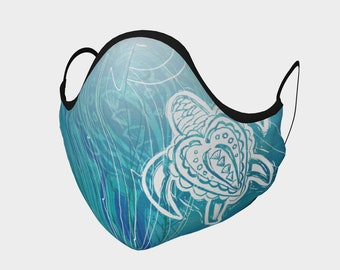 Scribbly Sea Turtle Face Mask