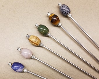 Natural Gemstone and Steel Hair Stick