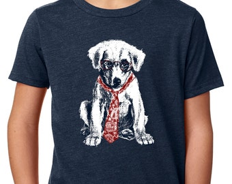 boys shirts - boys tshirts - dog shirt - kids dogs - boys clothing - dog tshirt - childrens clothes - nerd gifts - SPECTACLE PUP - t shirt