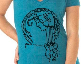 womens shirts - art nouveau print - art nouveau shirt - Christian shirt - Bible shirt -Bible verse - Christian gifts-NOUVEAU GIRL-deep vneck