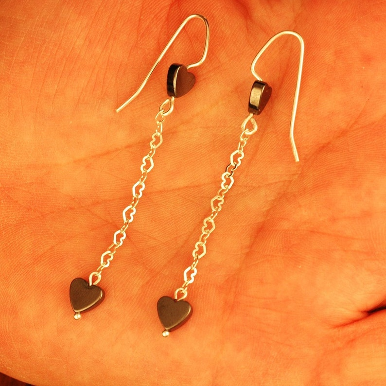 Hematite Hearts With Sterling Silver Heart Dangles - Dangle Earrings