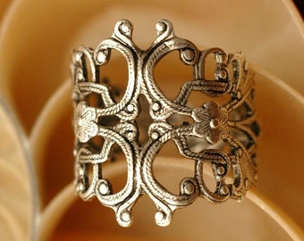 Filigree Ring   ---   Oxidized Silver Adjustable Ring - Large Size 6 to Size 13