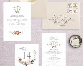 Watercolor Fall Wedding Invitation, Wedding Announcement