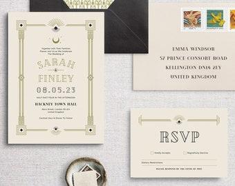 Celestial Art Deco Wedding Invitation Collection