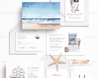 By The Sea Collection, Watercolor Nautical Inspired, Wedding Announcement