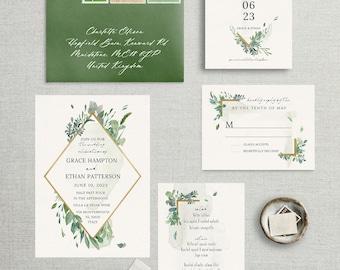 Botanical Greenery Wedding Invitation, Wedding Announcement