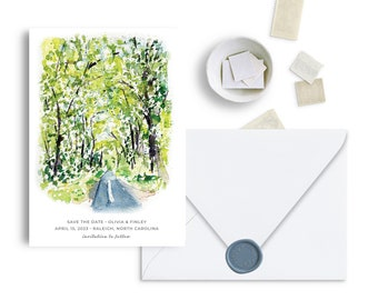 Watercolor Woodland Windng Road Save The Date, Road Trip, Mountain and Woodland Theme, Bridal Shower, Wedding Invitation