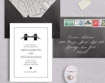 Brooklyn Bridge Save The Date Illustration, Brooklyn, New York, Destination Wedding, Wedding Announcement