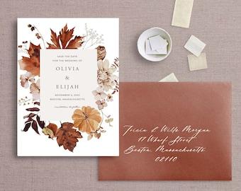 Watercolor Autumn Save The Date Floral Wedding Announcement, Civil Union