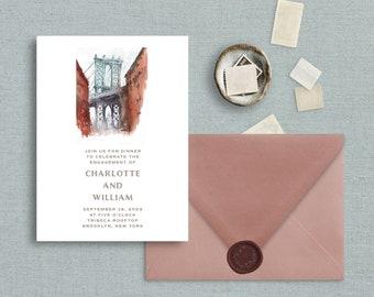 Watercolor Brooklyn Bridge Invitation, New York Destination Wedding, Engagement Party, Save The Date, Wedding Invitation, Civil Union