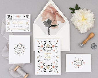 Rose Gold Botanical Watercolor Invitations, Wedding Announcements