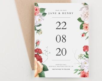 Modern Botanical Save The Date, Wedding Announcement