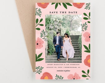 Botanical Photo Save The Date, Pink and Green Watercolor Floral Save The Date