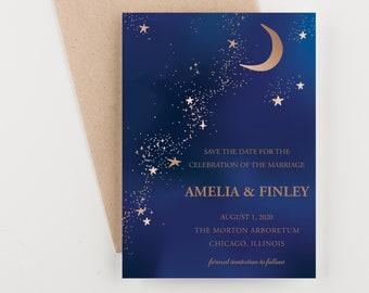 Celestial Save The Date, Starry Night, Moon & Stars Invitation