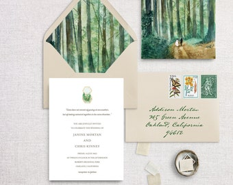 Woodland Save The Date, Boho Forest Invitation