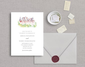 English Red Manor Save The Date,  Watercolor Venue, Bridal Shower, Wedding Invitation