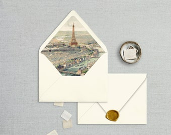 Envelope Liner Template, Vintage Paris Scene Print Multiple Sizes, Instant Download