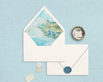 Envelope Liner Template, Lake Garda Italy, Watercolor, Instant Download