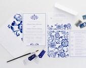 Blue Floral Wedding Invitations - Watercolor Blue Invitations - China Pattern Wedding Invitations