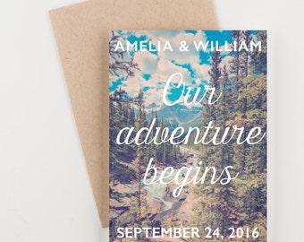 Woodland Adventure Save The Date, Rocky Mountains, Bridal Shower, Wedding Invitation